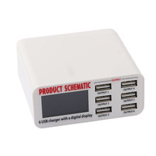 Smart Charger Fast Charging Station with 6 USB Ports LCD Digital Display for iPhone iPad Phone Tablet PC Digital Camera Chargers