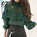New Fashion 2017 Primavera Noble Mulheres Oco Camisa Blusa de Renda Longo-luva Ruffles Camisa Feminina Mulheres Encabeça Blusa De Renda