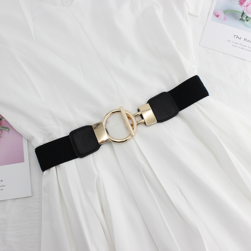 2019 New Golden Buckle Hot Sale Women Fashion Thin Elastic Stretch Corset Waist Belt