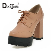 DoraTasia 2017 new fashion super high chunky heel pumps woman sexy thick platform women shoes lace up party OL casual shoes