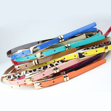 2018 New 8 Colors Thin Pu Leather Belt Female Red Brown Black White Yellow Waist Belts for Women Dress Strap Wholesale(China)