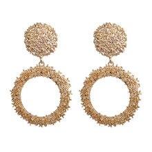 LZHLQ Drop Dangle Earrings Statement Earrings 2018 Fashion Metal Earrings For Women Gold And Silver Jewelry Simple Vintage