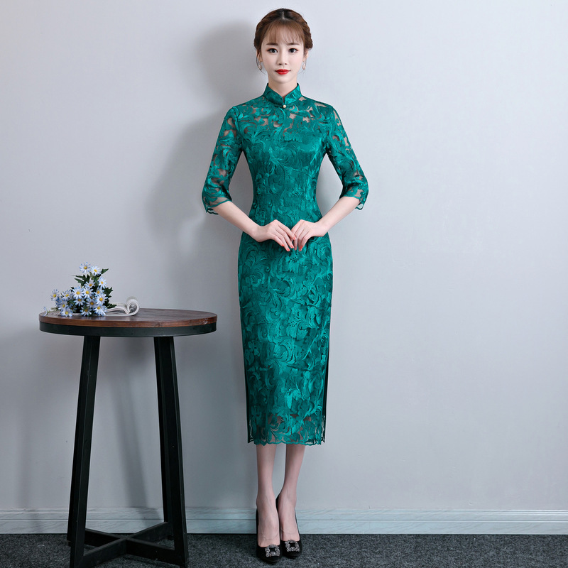 Robes S Dentelle Chinoise Élégante Long Qipao xxl Casual rouge Robe Col Bouton Cheongsam Taille Vert Mince Fille Traditionnelle Mandarin 9WDIYEH2
