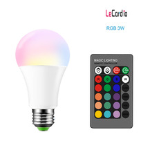 E27 Led Bulb 3W 16 Color Changable Led Lamp RGB+White Stage Light Night Light Bulb 85-265V/ Remote Control + Memory Function