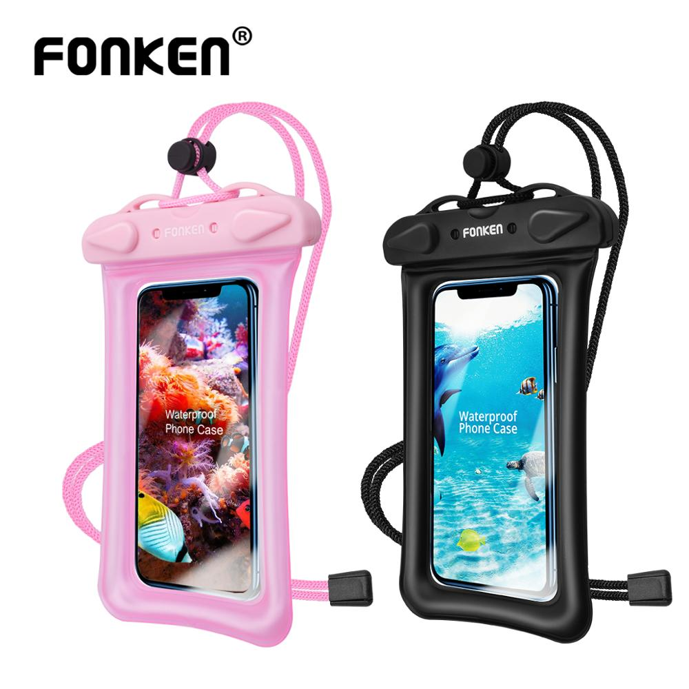 FONKEN Waterproof Phone Case Underwater Smartphone Dry Bag Airbag Float Storage Pouch IPX8 Touch Android Cell Phone Cover