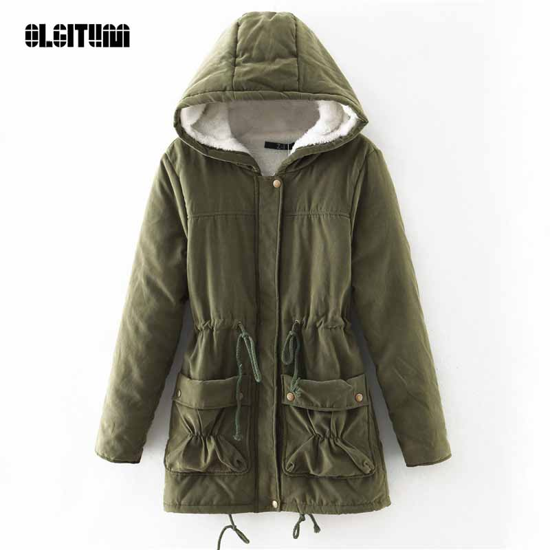 2019 winter jacket women Hooded Cotton Coats in Women's   Parkas   Adjustable Waist Slim Coat Women Jacket Coat CC247