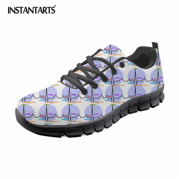 Zapatos planos instantets informales de mujer, zapatos de malla de diseño de suela negra para mujer, zapatos con estampado de ritmo cardíaco en 3D, zapatilla de cordones livianos