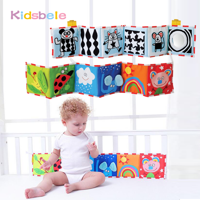 где купить Baby Cloth Book Rattles Toys Soft Funny Black White Colorful Knowledge Multi-Tounch Cartoon Animal Learning Infant Toys по лучшей цене