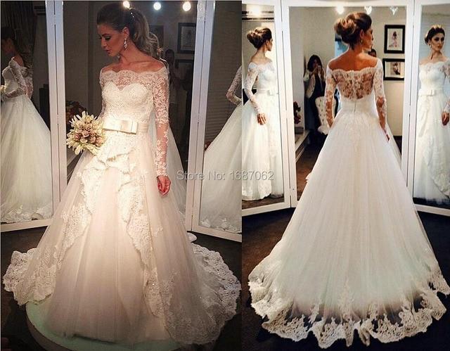 7e90e66d0d350 Off Shoulder Long Sleeves Lace Tulle Wedding Dresses Ball Gowns Court Train  Appliques Beaded Bridal Gown vestido de noiva curto