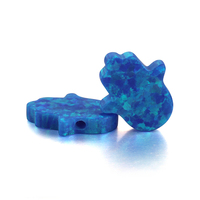 High Quality 11x13mm (Across Hole) Hamsa Hand OP05 Blue Opal Pendant Hand Synthetic Opal Beads For Jewelry Making