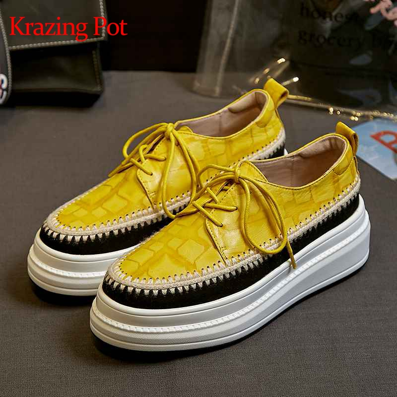 Krazing Pot special sheep leather lace up round toe sneakers thick bottom movie star flat platform handmade vulcanized shoes L20Krazing Pot special sheep leather lace up round toe sneakers thick bottom movie star flat platform handmade vulcanized shoes L20