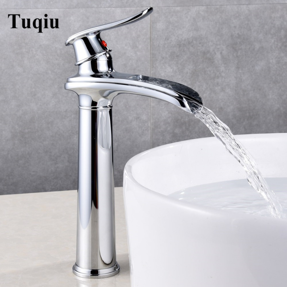 Bathroom lavatory waterfall Faucet hot and cold Crane Brass sink mixer tal Waterfall Sink Faucet Single Handle water faucetBathroom lavatory waterfall Faucet hot and cold Crane Brass sink mixer tal Waterfall Sink Faucet Single Handle water faucet