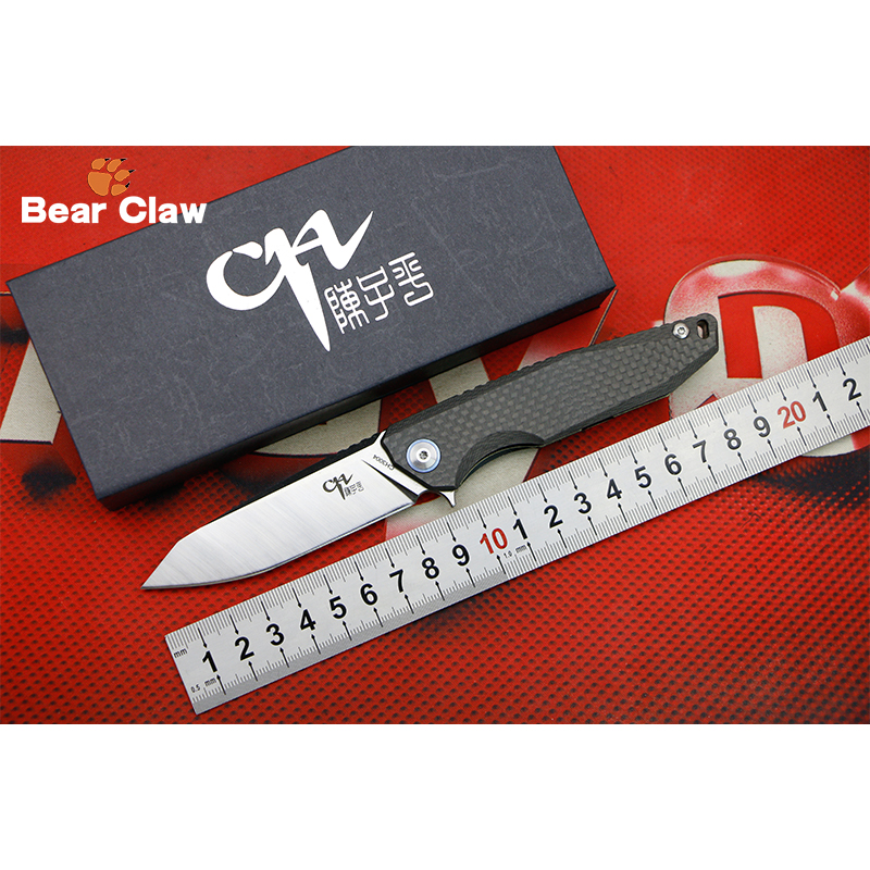 CH 3004 Flipper folding knife AUS-8 blade Carbon fiber + Titanium handle Outdoor camping hunting pocke knives EDC tools Surviva quality tactical folding knife d2 blade g10 steel handle ball bearing flipper camping survival knife pocket knife tools