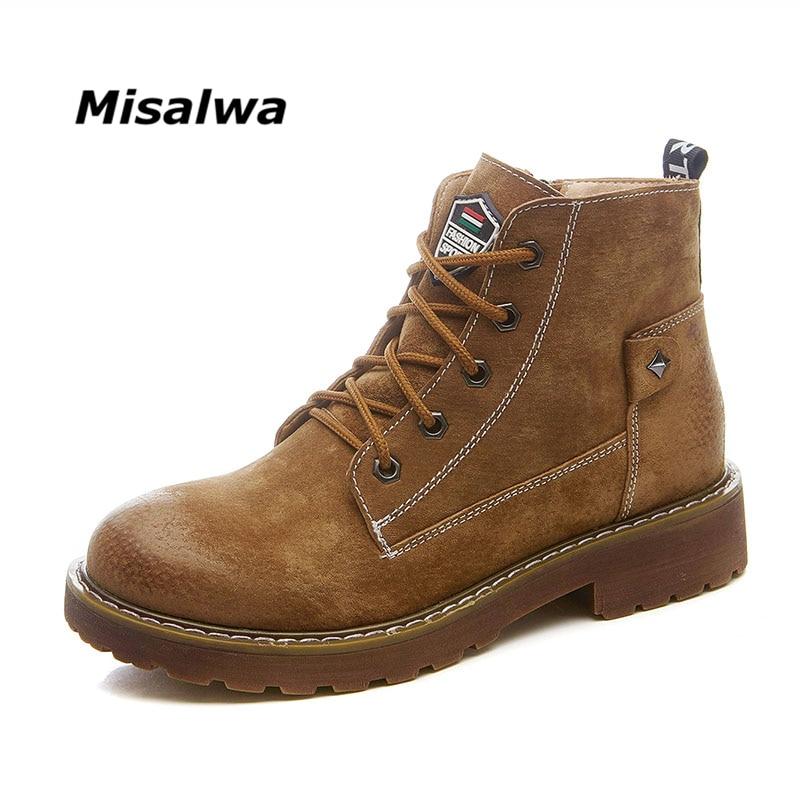 Misalwa Nouvelle Femmes Bottes à Lacets Solides Casual Cheville Bottes Bout Rond Chaud Style Britannique Automne Hiver Filles Chaussures