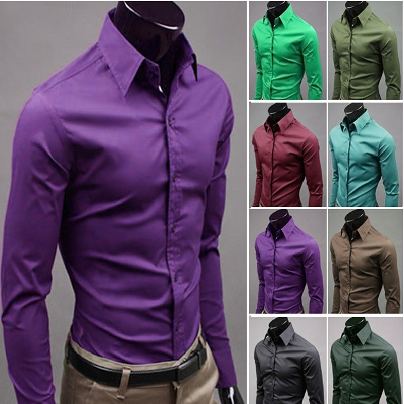 Aliexpress.com : Buy 17 Colors Man Shirt Candy Colorful Casual ...