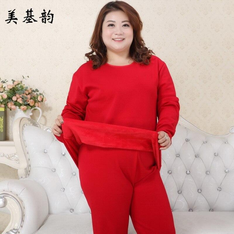 Free Shipping High Quality Winter Women Extra Large Size Thermal Underwear Plus Velvet Sleepwear set Nightgown