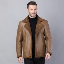 Winter warm motorcycle Leather coat Men's Business Brand Jacket luxury fur sheep leather men's Fur coat  Cuero abrigo de piel недорого