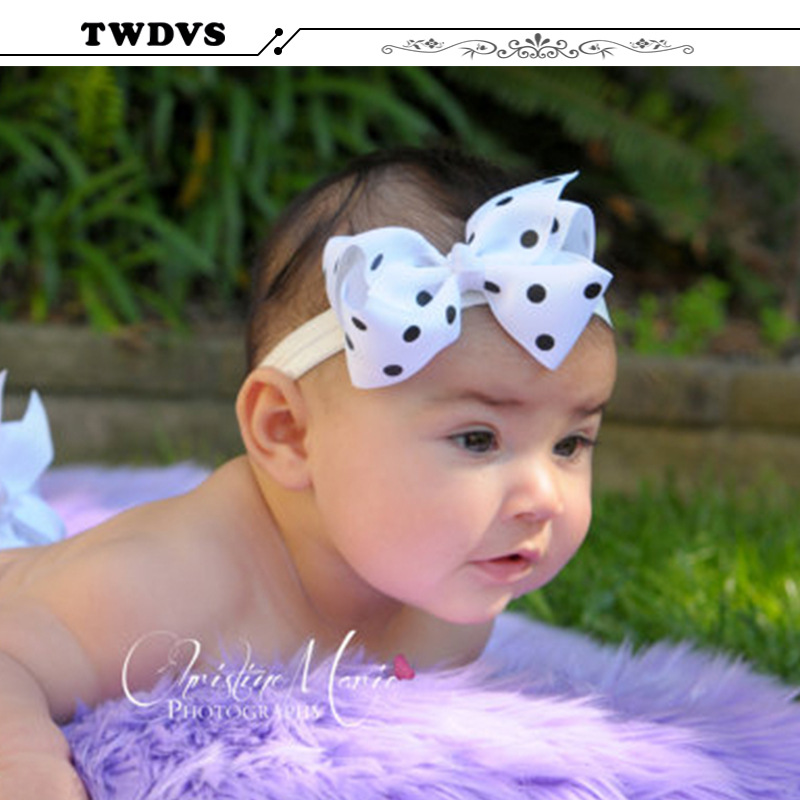 14 Colors Baby Bow Headband Girls Lace Headband Infant Knitting Hair Weave Bowknot Elasticity band Baby Hair Accessories W005