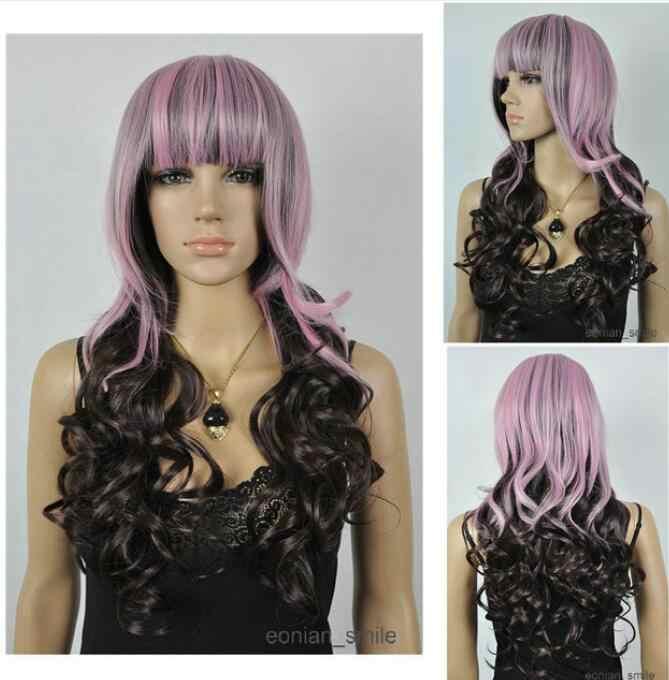 Парик светло-фиолетовый и темно-коричневый длинный волнистый женский парик для косплея с сеткой для волос Бесплатная доставка