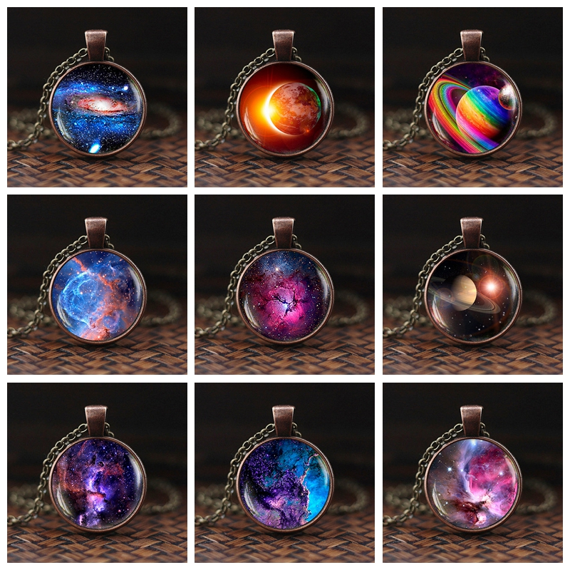 Nebula Necklace Galaxy Astronomy Pendant Solar System Jewelry Space Universe Necklace Milky Way Jewellery