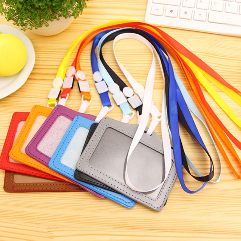 20pcs Neck Strap Lanyard Sling ID Badge Holders PU Name Card Case Certificate Horizontal Style With Lanyard School Office Tools
