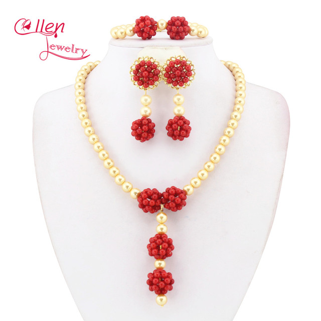 Dubai Nigerian African C Beads Wedding Jewelry Sets For Brides Womens Rose Red Fashion Set