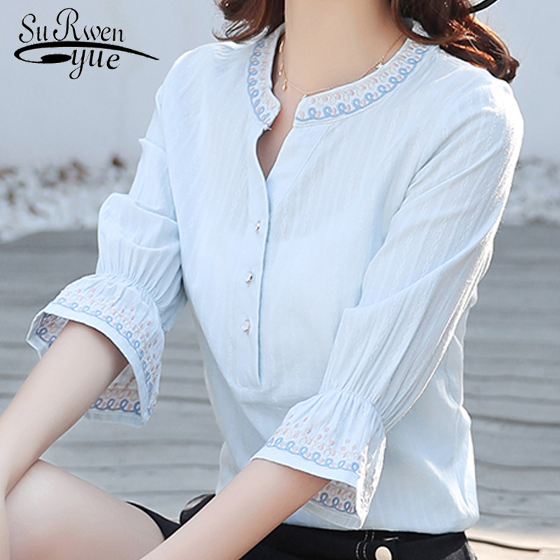 new summer flare sleeve women tops plus size white women   blouse     shirt   fashion 2019 OL   blouse   women's clothing blusas D861 30