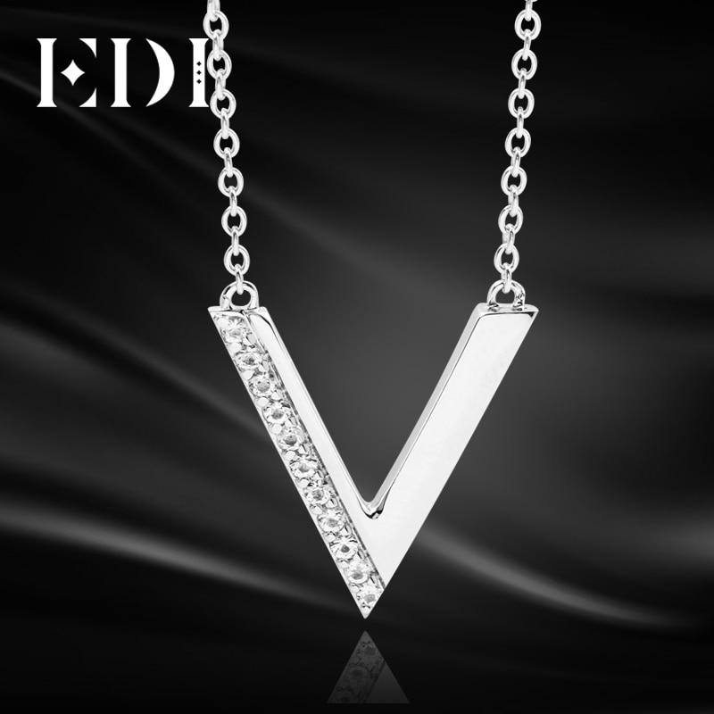 Silver V Pendant Necklace 925 Sterling Silver Natural White Topaz Fashion Pendant Jewelry For Women 40+5cm Silver Chain