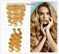 Stella Reina de Malasia Pelo Virginal 13X4 Cierre Frontal Del Cordón Con 2 Bundles #27 Honey Blonde Onda Del Cuerpo 100% Del Pelo Humano extensión