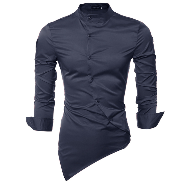 Марка 2017 Рубашки Мужские Горошек Нерегулярные Рубашка Slim Fit мужской Рубашки С Длинным рукавом Рубашки Мужчины Тонкий Нерегулярные Воротник 635 S
