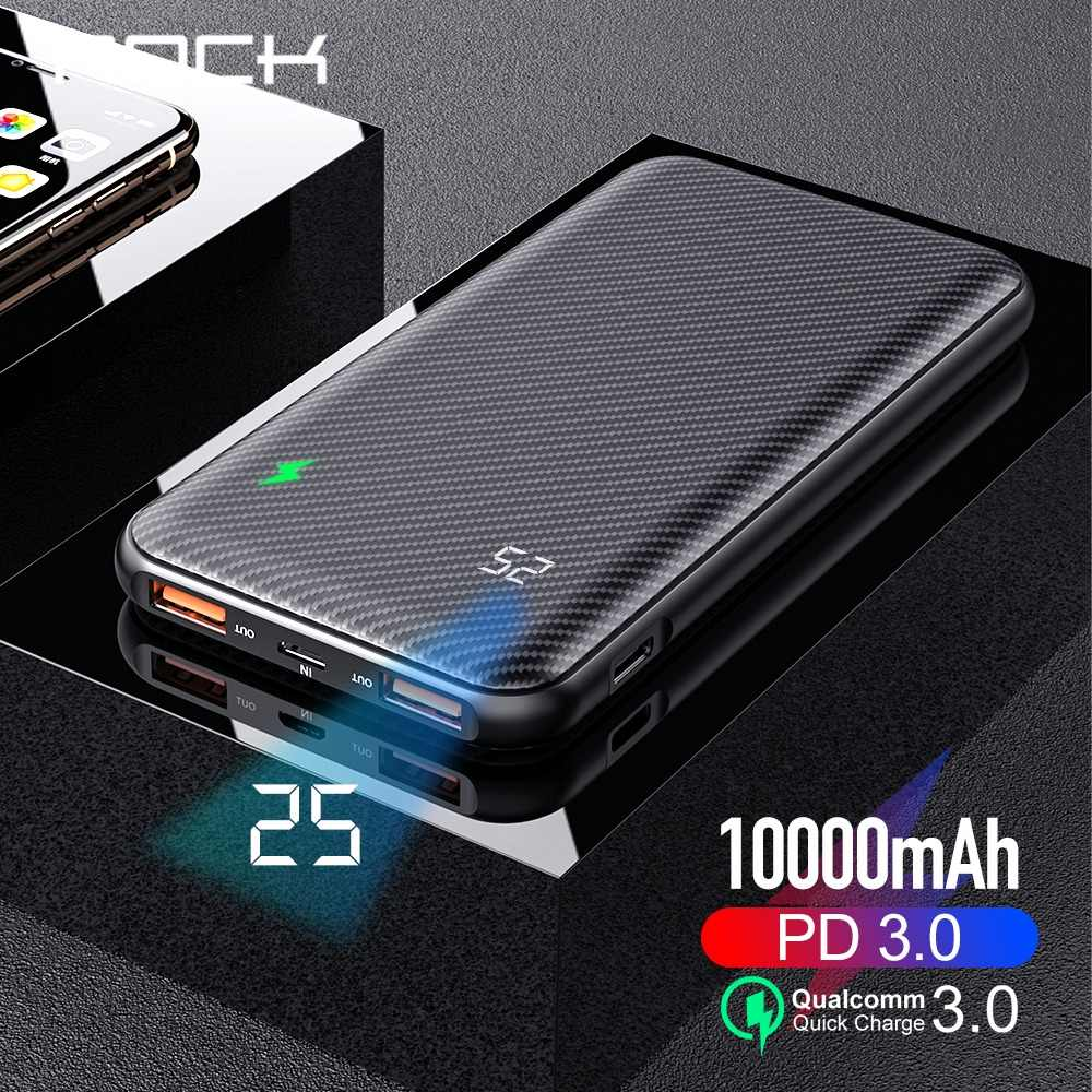 ROCK Quick Charger Power Bank 10000mAh PD QC 3.0 18W Digital LED Display Dual USB External Battery Charger