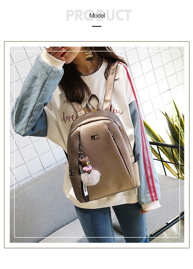 HTB1h.y7a.LrK1Rjy0Fjq6zYXFXaE Fashion Gold Leather Backpack Women Black Vintage Large Bag For Female Teenage Girls School Bag Solid Backpacks mochila XA56H
