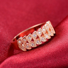 Huitan Romantic Rose Gold Color Ring Band Cute Leaf Design Trendy Women Jewelry OL Stylish Modern Accessories Selling
