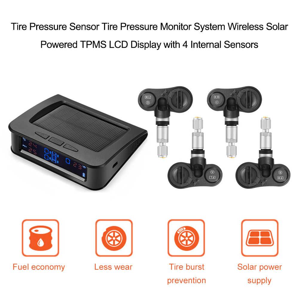 Exibição Do Sistema De Alarme Do Monitor de Pressão Dos Pneus TPMS Carro Solar 4 Interno Sensor de Aviso de Temperatura de Vazamento de Alta/Baixa Pressão Alerta