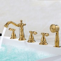 Brass Bathtub faucet luxury Gold bathroom Shower faucet five holes Cold and hot water mixer tap with handheld shower head