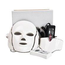 7 Colores de Luz LED de Fotones Cuello Máscara Facial Máquina de Rejuvenecimiento de La Piel Tratamientos de Spa Facial Eliminación de Arrugas Belleza Eléctrica Dispositivo