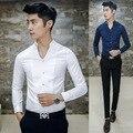 Marca V Cuello Para Hombre Camisas de Vestir de Moda coreano 2016 Primavera Blanco negro de Manga Larga Slim Fit Camisa Camisas del Diseñador Ocasional de Los Hombres 3XL
