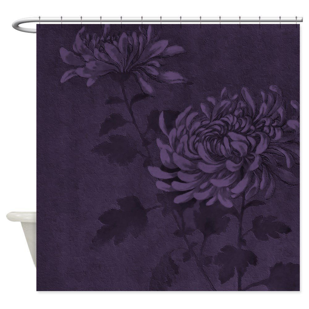 Dark Purple Floral Decorative Fabric Shower Curtain