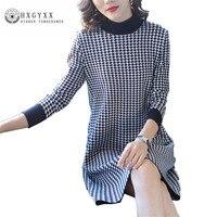 High Quality Spring Autumn Woman Grid Wool Dress 2018 New Fashion Loose Knit Female Dress Fair