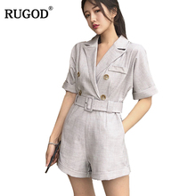 RUGOD 2018 Fashion Casual Women Playsuit Loose Female High Waist Sets With Belt Playsuit Short Sleeve