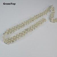 2017 Nueva cadena de diamantes de imitación Perla Cristal Crystal rhinestone Recortar para el arte diy diseño de la cadena de ropa de la boda bandas Cosen en Grano