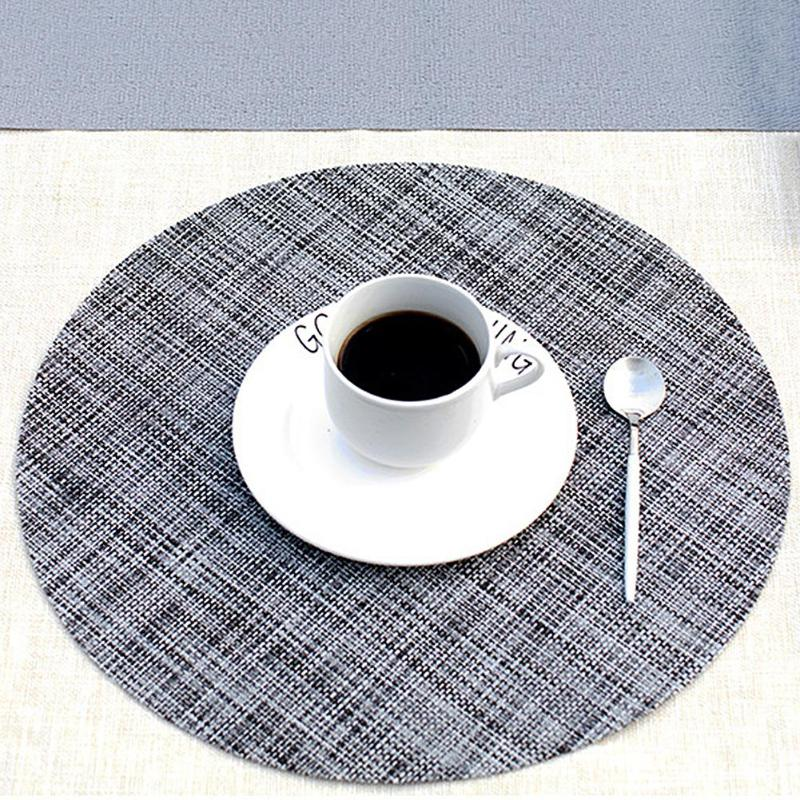 Round Dining Table Mat Heat Insulation Placemats PVC Non-Slip Tableware Linen Table Pads Coaster Kitchen Accessories