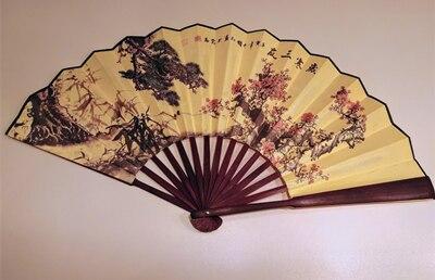 """1"""" украшенный Шелковый складной Ручной Веер человек большой бамбуковый китайский Печатный веер из ткани традиционное ремесло свадебные сувениры веер - Цвет: Three Friends of Win"""