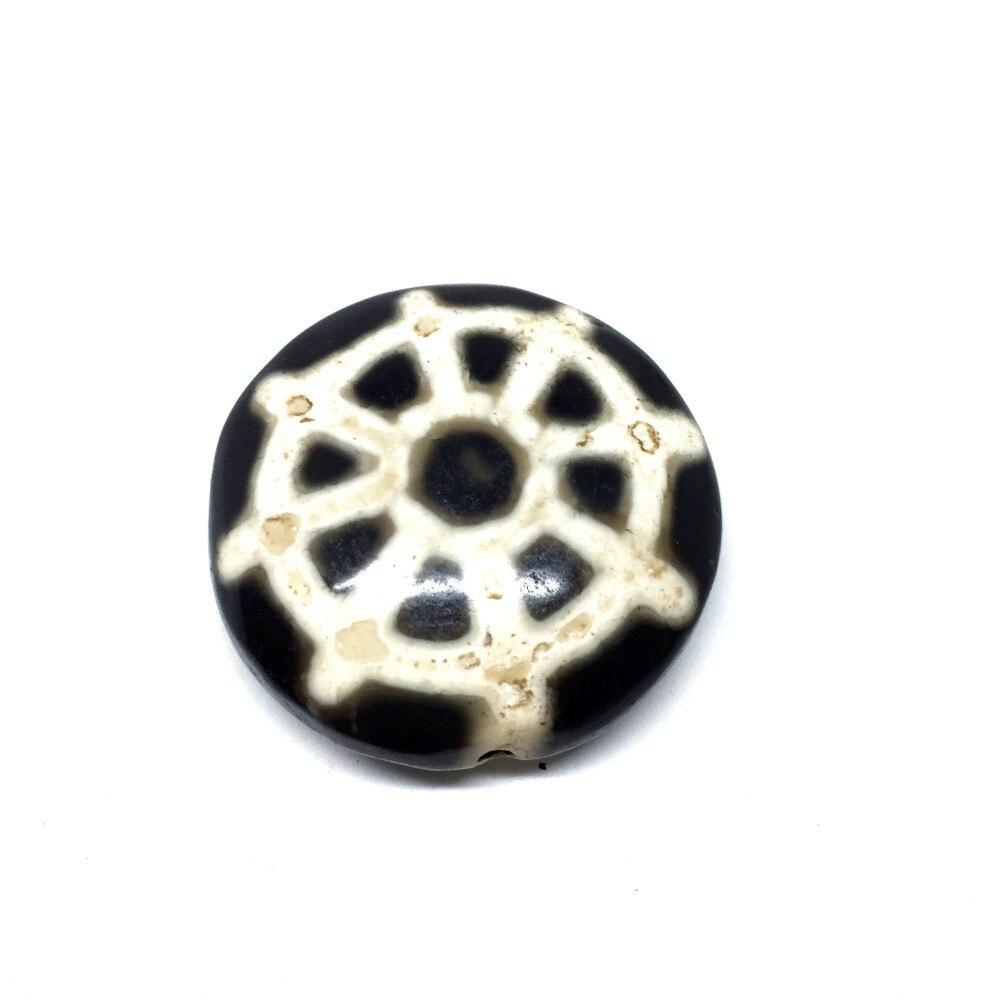 DIY круглая форма колеса узор Небесные глаза старый черный и белый натуральный камень тибетские дзи бусины ослабление бусины