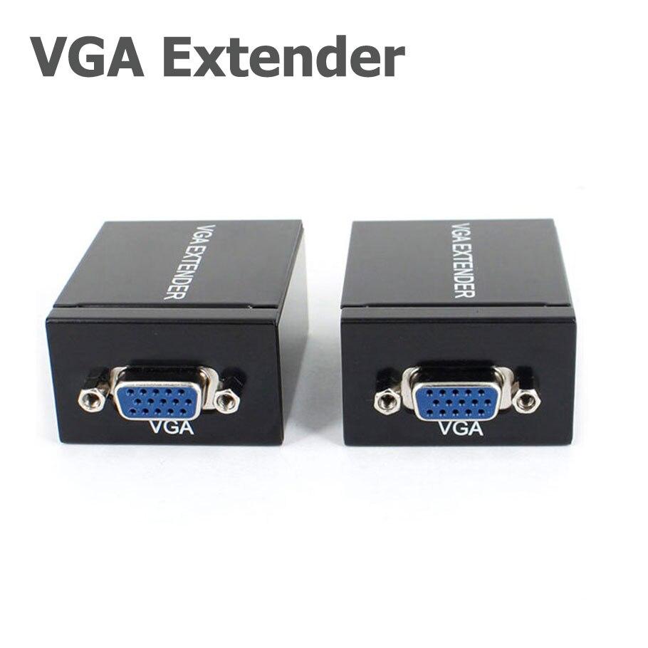 Rj45 đơn cat 5e/6 mạng cáp lên đến 60 m vga Signal Extender Repeater Adapter Hỗ Trợ 1080 P Full 3D 2 Năm bảo hành