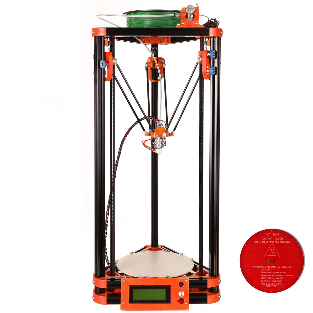 Full Metal Frame Heated Bed 3D Printer, Professional 3d Color Printer With 2GB SD Card LCD 40m Filament for Free high quality wanhao jewelry 3d printer with 2gb sd card an 1kg filament for free