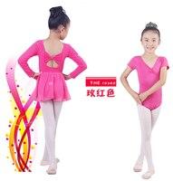 Ücretsiz kargo 100-150 cm mavi rosy mor dans giyim suits çocuk çocuk leotard şifon dress giysi bale dress