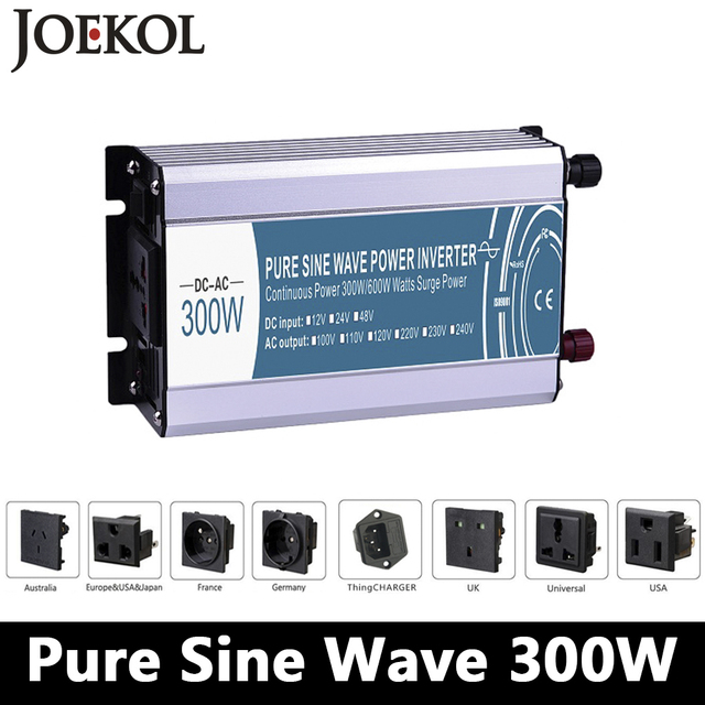 300/600W pure sine wave inverter DC 12V/24V/48V to AC 110V/220V,off grid inversor,power inverter work with Solar Battery panel