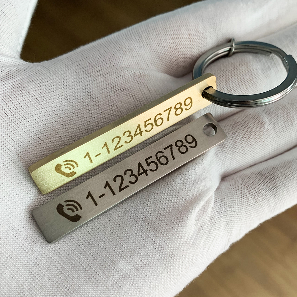 Custom Engraved Keychain Car Logo Name Stainless Steel Personalized Gift Customized Anti lost Keyring Key Chain