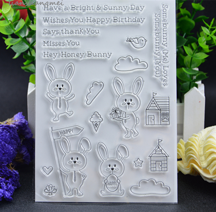 Rabbit Transparent Clear Silicone Stamp/Seal for DIY scrapbooking/photo album Decorative clear stamp QQA lovely animals and ballon design transparent clear silicone stamp for diy scrapbooking photo album clear stamp cl 278
